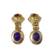 14k Gold Cabochon Amethyst and Topaz Earrings