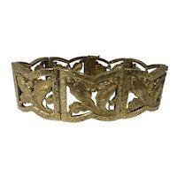 Retro European 14k Gold Acanthus Leaf Bracelet