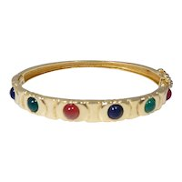 Stunning 14k Gold Cabochon Emerald, Carnelian and Sapphire Bracelet