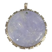 Striking Large 14k Gold White Jade Pendant Inset With Ruby and Sapphire
