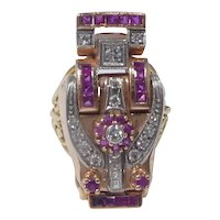 Turn Of The 20th Century Egyptian Revival 14k Gold Diamond And Ruby Ring