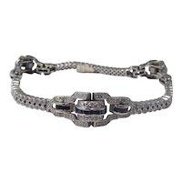 Art Deco 14k White Gold Diamond & Sapphire Bracelet