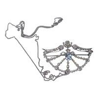 Fine Victorian 18k Gold Diamond , Aquamarine and Pearl Necklace Hallmarked