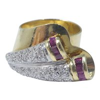 40's Hollywood Regency 18k Gold, Diamond and Ruby Ring