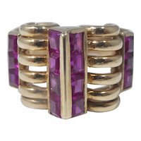 Retro 14k Gold And Ruby Ring