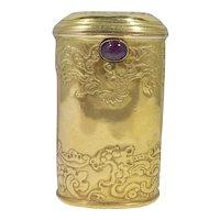 14k Gold Art Nouveau Necessaire With Ruby Clasp