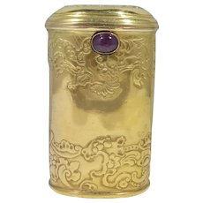 14k Gold Art Nouveau Necessaire With Ruby Clasp