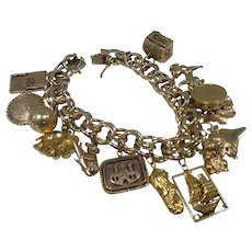 Incredible Vintage Heavy 14k Gold Charm Bracelet W 18k Gold Charms