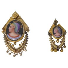Victorian 14k Gold  & Enamel Egyptian Revival Pendant & Pin