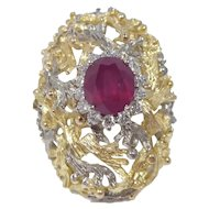 18k Gold Diamond and Ruby Brutalist Ring