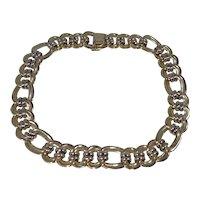Italian 14k Gold Broad Link Choker Necklace