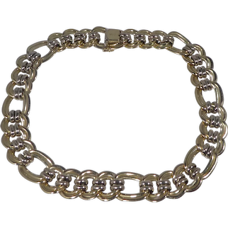 Italian 14k Gold Broad Link Choker Necklace