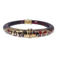 Fidia Gioielli Firenze 18k Gold & Tortoise Shell Enamel Bangle Bracelet