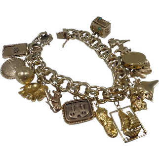 Incredible Vintage Heavy 4.24 Ounce 14k Gold Charm Bracelet W Some 18k Gold Charms