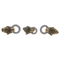 14k Gold Diamond & Enamel Panther Door Knocker Ring & Earrings