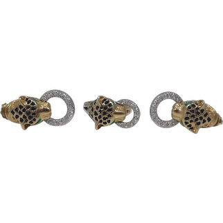 14k Gold Diamond & Enamel Panther Door Knocker Ring & Earrings