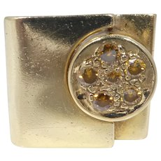 Modernist 18k Gold & Canary Yellow Diamond Cocktail Ring