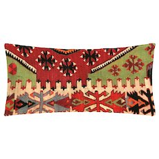 "1960s Turkish Kilim Lumbar Pillow - 11"" x 22"""