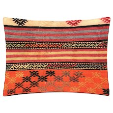 "1960s Turkish Kilim Pillow - 17"" x 23"""
