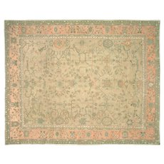 1910s Turkish Oushak Carpet - 9' x 11'4""