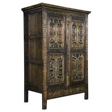 Italian Painted Armoire with Gothic Carvings