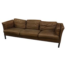 Danish Leather Three Cushion Sofa