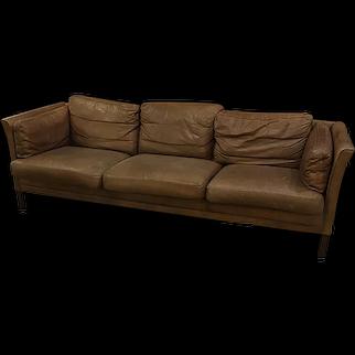 Danish Leather Three Cushion Sofa