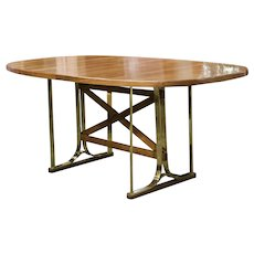 Italian Brass and Cherry Oval Center Table