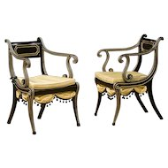 Pair of Regency Ebonized Open Armchairs