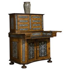 German Walnut and Pewter Concave Cabinet