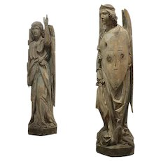 Pair of French Carved Angels