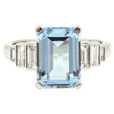 2.5 Carat Emerald Cut Aquamarine Diamond Platinum Ring