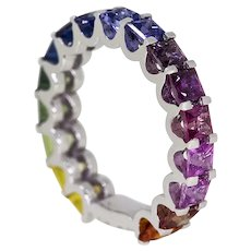 Barcelona Rainbow Sapphire Ring in 18ct White Gold