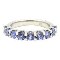 Ceylon Sapphire Half Band Eternity Ring