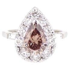 1.51 Carat Pear Cut Champagne Diamond ring