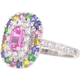 Rainbow Sapphire Diamond Garnet Platinum Cocktail Ring