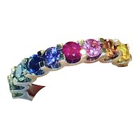 Rainbow Sapphire Half Band Ring in 18ct White Gold