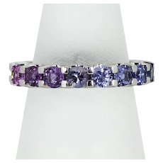 Santorini Rainbow Sapphire Ring in 18ct White Gold