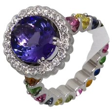 Tanzanite, Diamond and Multi Gemstone Ring in 18ct White Gold