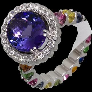 Tanzanite, Diamond and Multi Gemstone Ring in 18ct White Gold