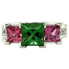 Green Tourmaline Pink Spinel Diamond 18 Carat White Gold Ring
