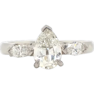Antique Cut Pear Diamond Engagement Ring