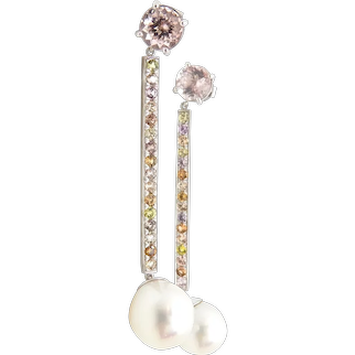 Malta Morganite, Sapphire and Pearl Earrings