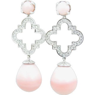 Peruvian Pink Opal, Diamond and 18 Carat White Gold Earrings