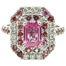 Pink Sapphire and Double Diamond and Pink Sapphire Engagement Ring