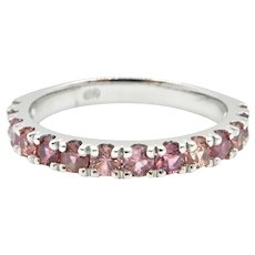 0.74 Carat Pink Sapphire and 18 Carat White Gold Bella Donna Wedding Ring