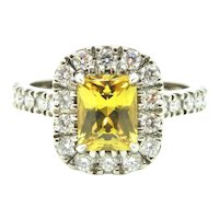 Radiant Cut Yellow Sapphire and Diamond halo Ring