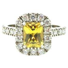 Radiant Cut Yellow Sapphire and Diamond halo Ring
