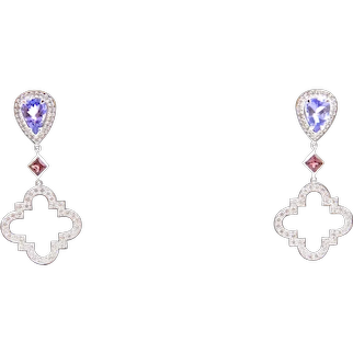 Tanzanite, Pink Sapphire, Diamond and 18 Carat White Gold Earrings