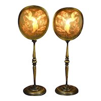 Wonderful Pair of Art Deco Pearline Nude Mantle Lamps